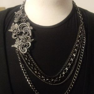 Jewelry - Multi Strand Necklace With Metal Lace Accent